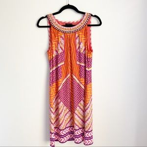 Hale Bob Geometric Print Dress w/ Beaded Neckline